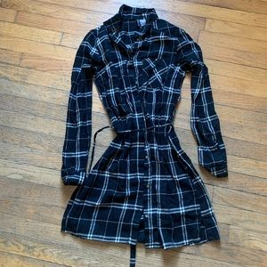 Plaid Long Sleeve Shirt-Dress